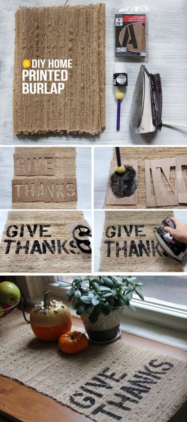 Check out this easy #DIY printed burlap runner idea for your #Thanksgiving table #crafts #rustic #centerpiece