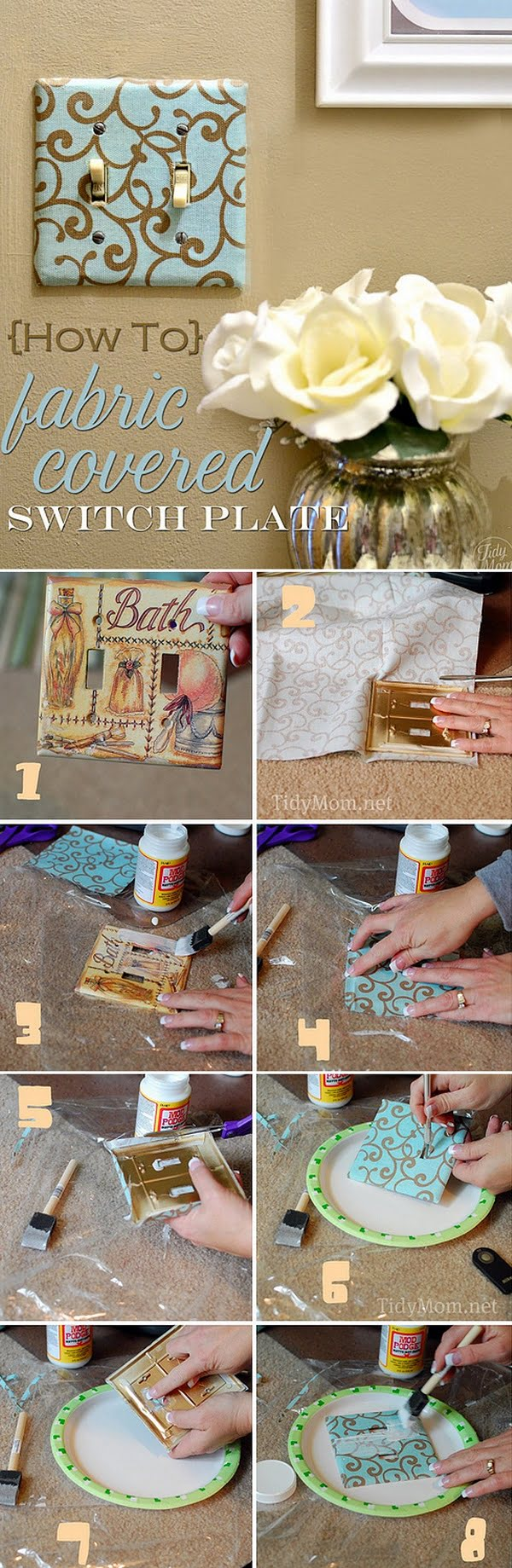 Check out this easy idea on how to make a  fabric covered light switch plate for  on a