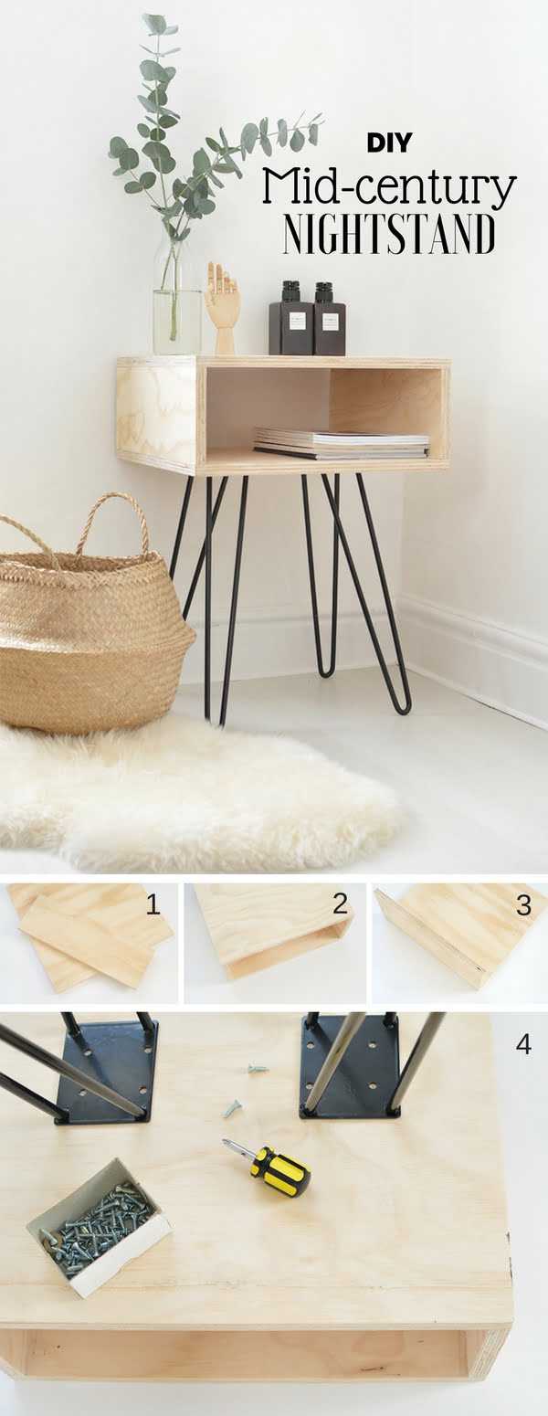 Check out how to make this easy DIY mid-century nightstand