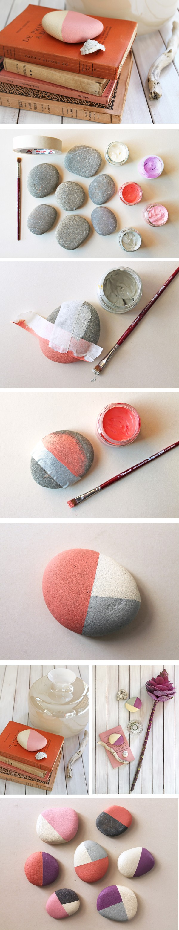 Brilliant idea of painted river rocks as DIY paper weights and easy home decor
