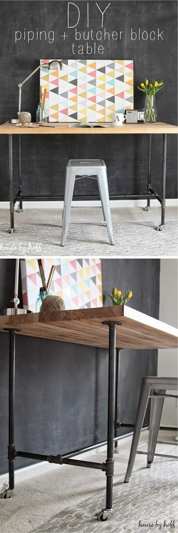 Check out this easy idea on how to build a #DIY #wood and piping table for living room #homedecor #budget #project