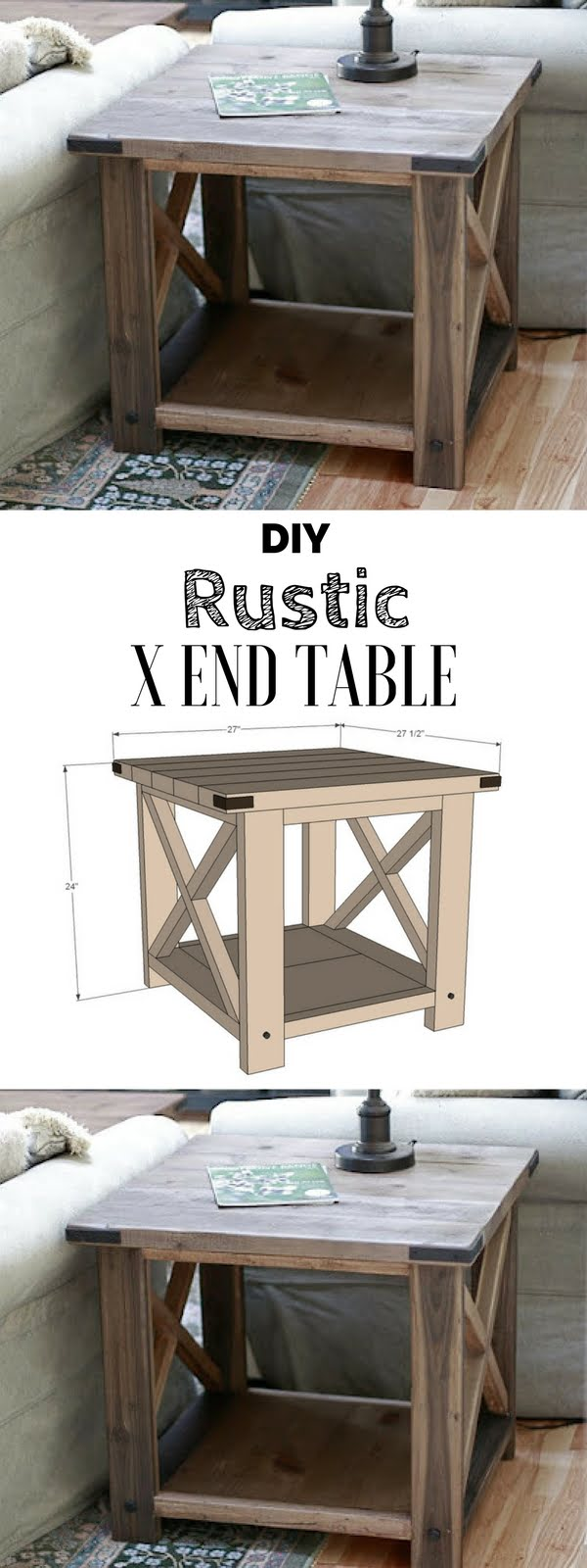 Check out the tutorial for an easy rustic DIY end table