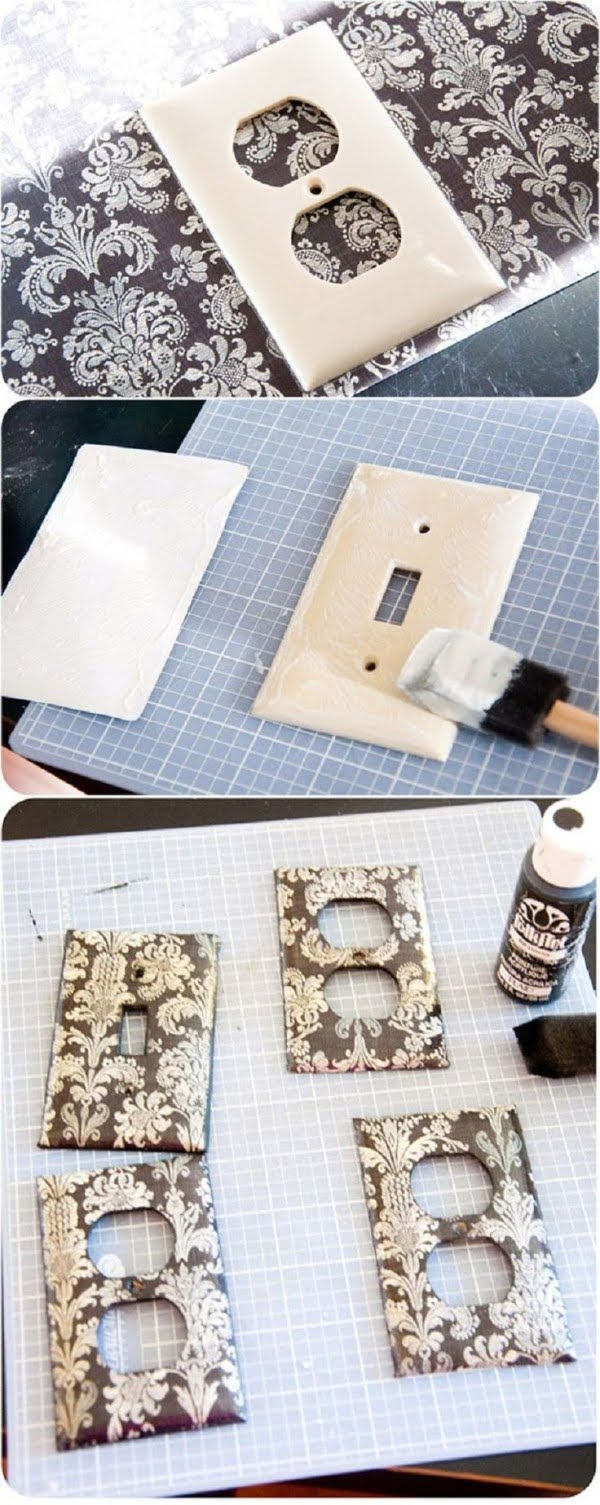 Easy tutorial for DIY light switch covers from scrapbook paper