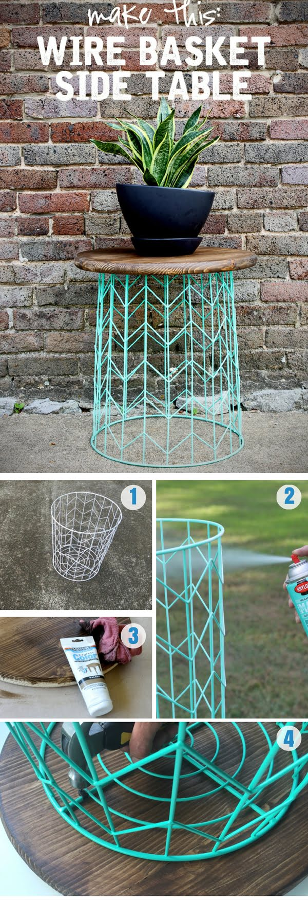 Love the idea for a simple DIY wire basket side table