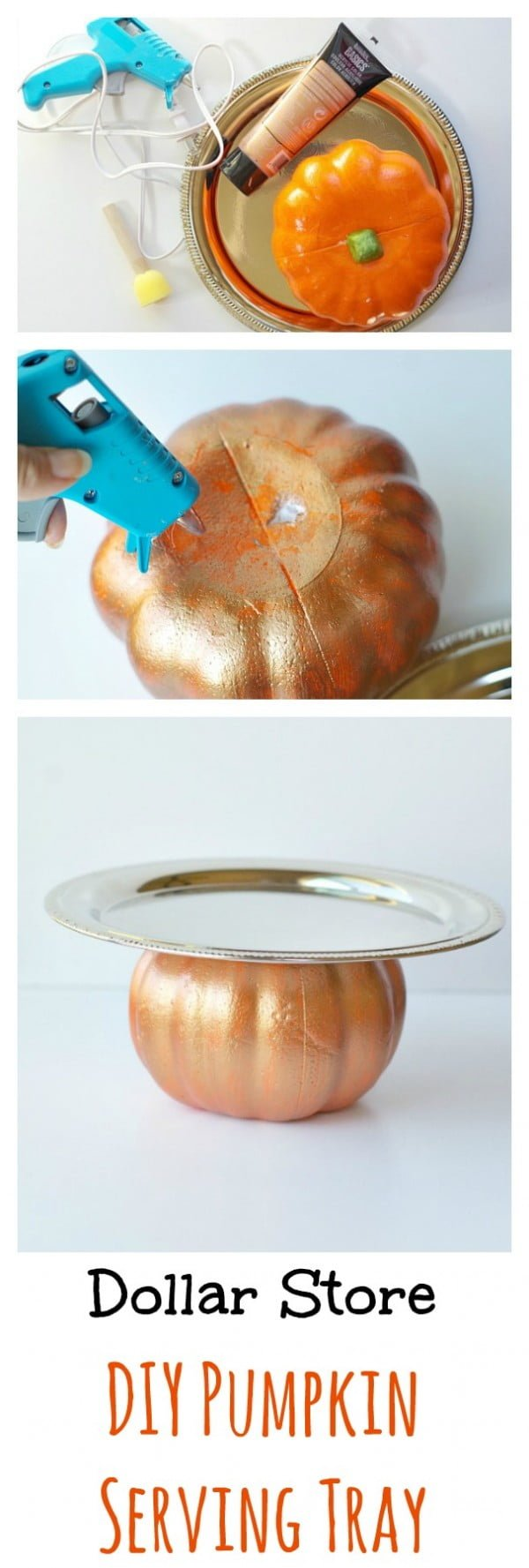 Easy tutorial for a DIY Pumpkin serving tray for Thanksgiving decor