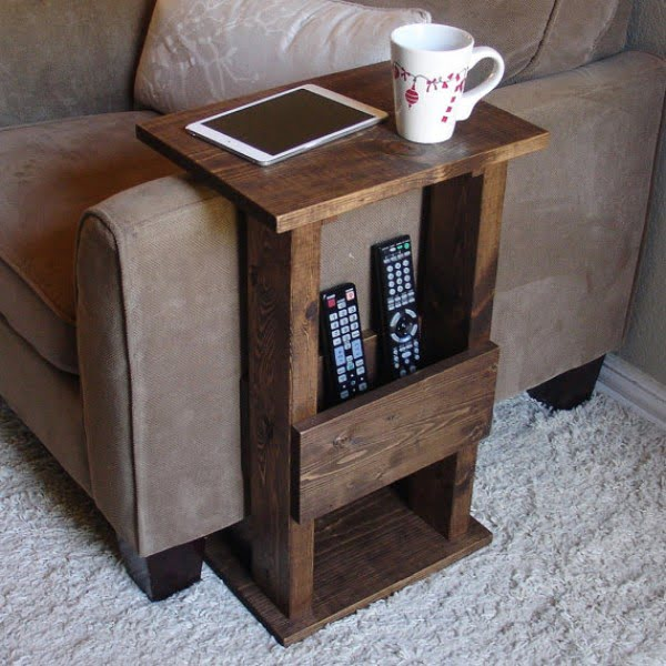 Love the idea for the DIY sofa arm rest side table