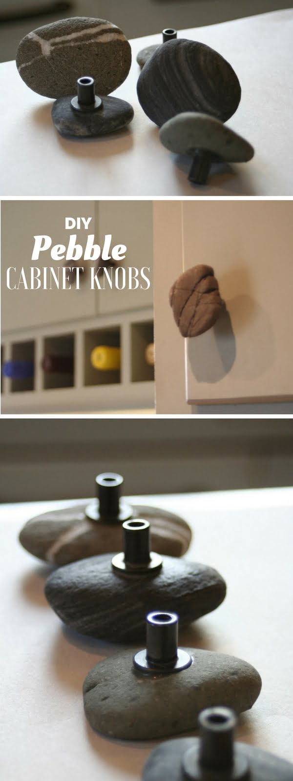 How to make easy DIY cabinet handles from rocks