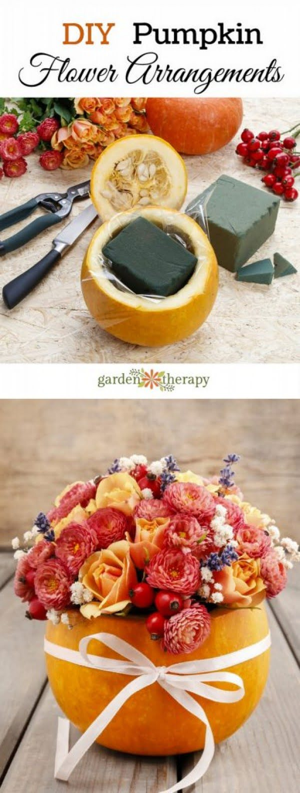 Check out how to make an easy DIY pumpkin flower arrangement for Thanksgiving decor