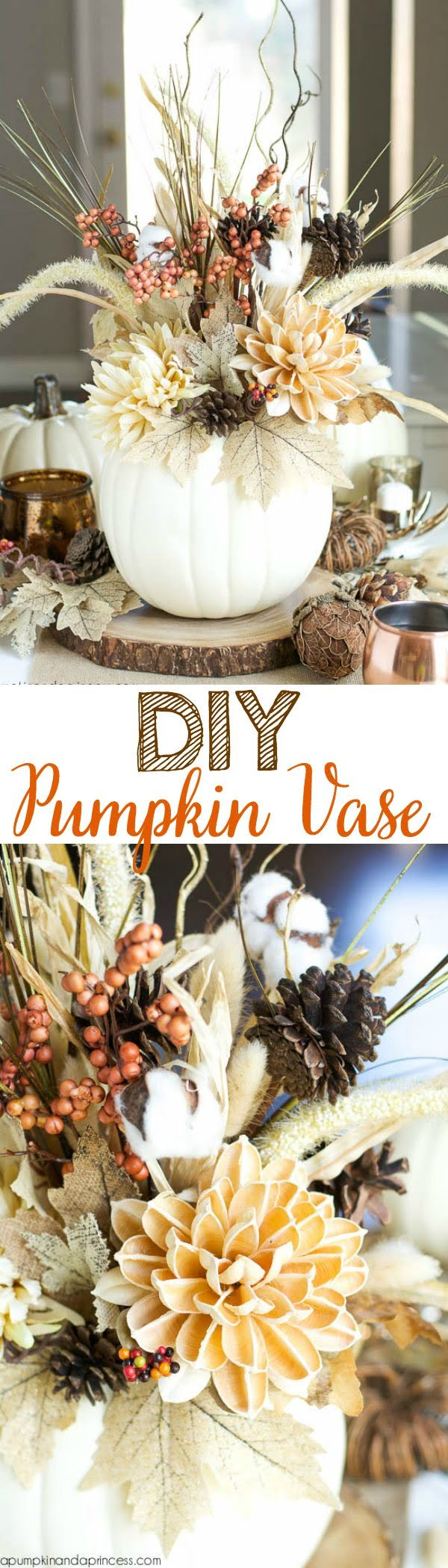 Easy tutorial for a DIY Pumpkin vase for Thanksgiving decorations