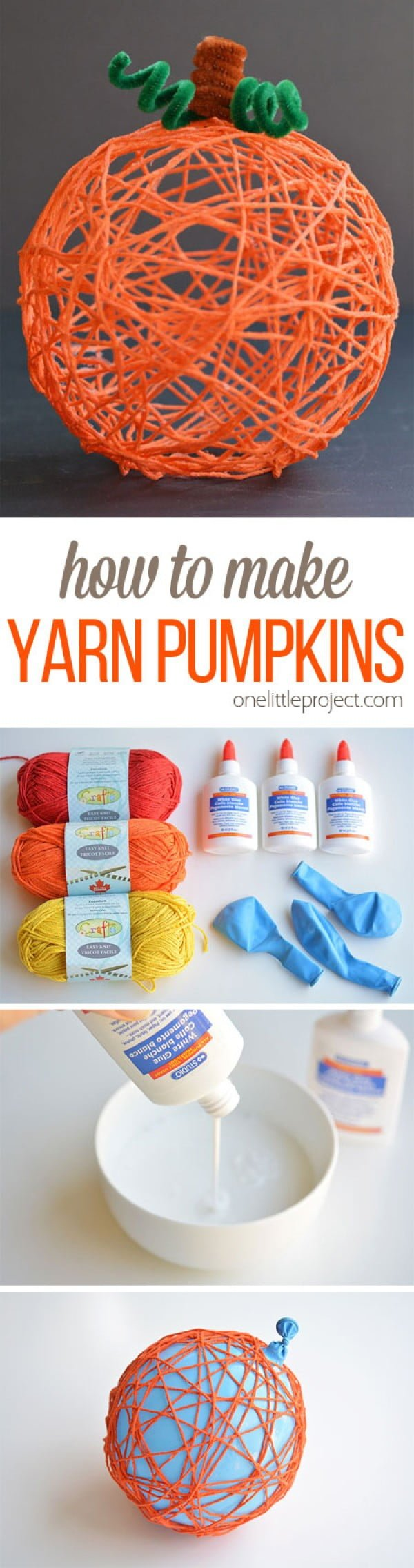 Check out how to make easy DIY yarn pumpkins for easy Thanksgiving decor