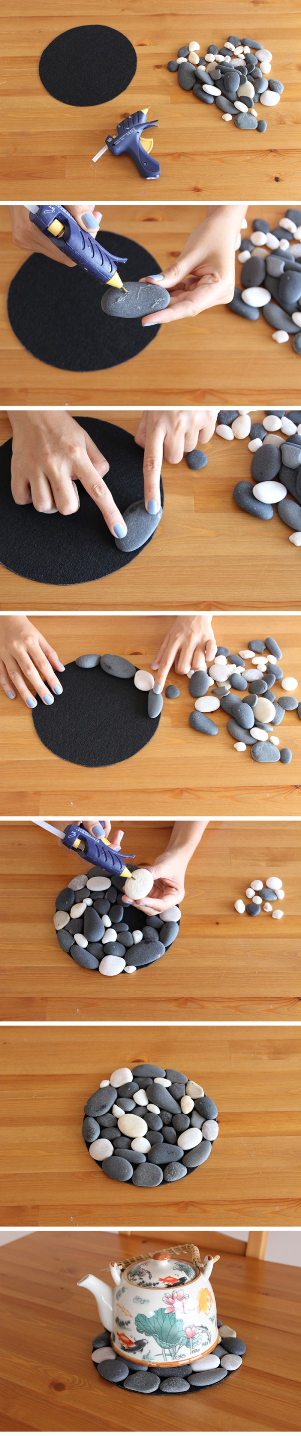 Easy and lovely DIY pebble coaster