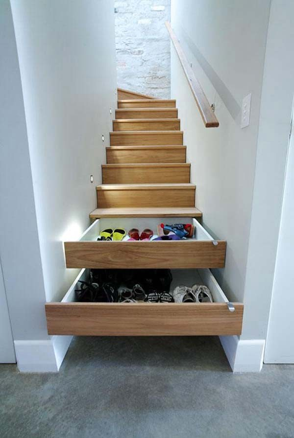 60+ Easy DIY Shoe Rack Ideas You Can Build on a Budget - Genius idea for hidden shoe storage in the staircase