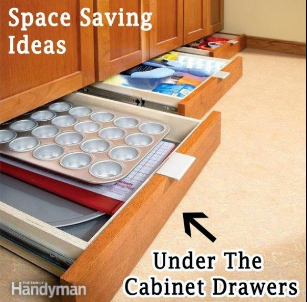 A clever idea to use the space under the cabinets for storage drawers