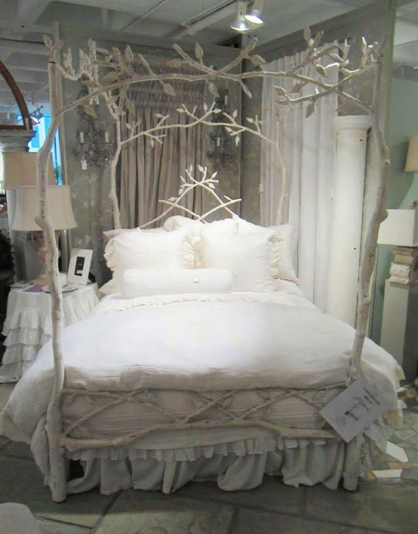 Love the shabby chic style of this decorative tree branch bed frame