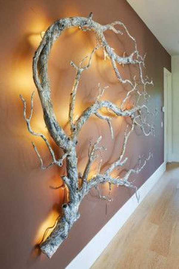 Check out this cool rustic driftwood wall mounted lamp