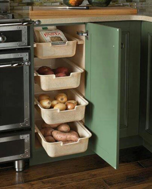 Nice idea for vegetable storage in custom cabinet drawers