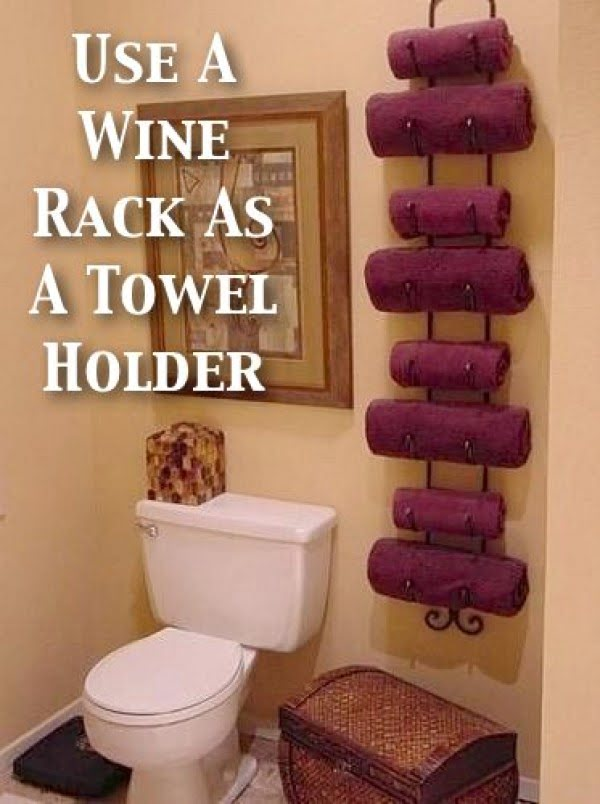 Nice idea for towel storage using a wine rack