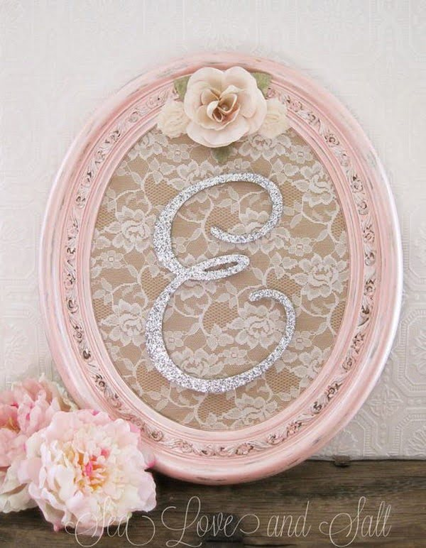 Lovely shabby chic monogram for bedroom wall decor