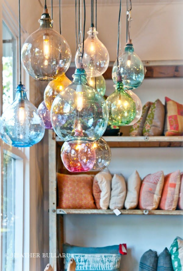 Check out these cool hand blown glass pendant light lamps