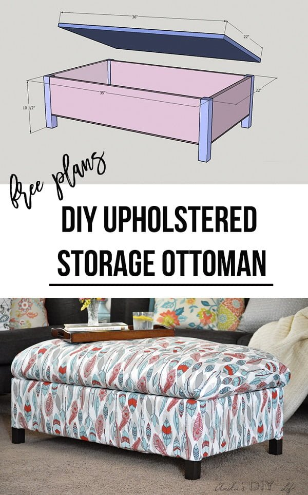 #DIY Upholstered Storage Ottoman, a nice way to add a functional piece of furniture to your living room and do it yourself! #homedecorideas
