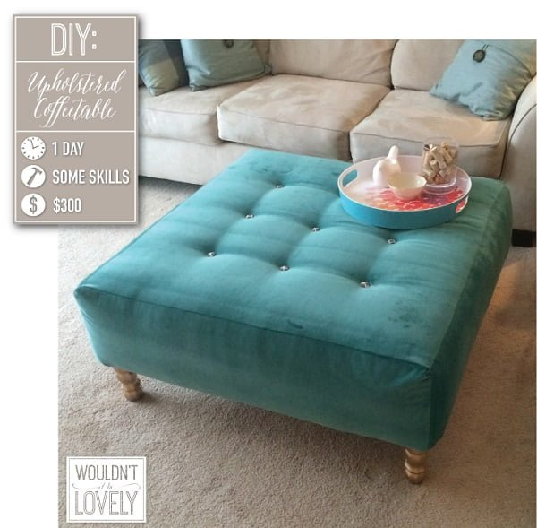 Upholstered Ottoman that looks great for living room decor and it's easy to make! ideas