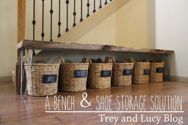 Great idea of storing shoes in labelled baskets under the bench