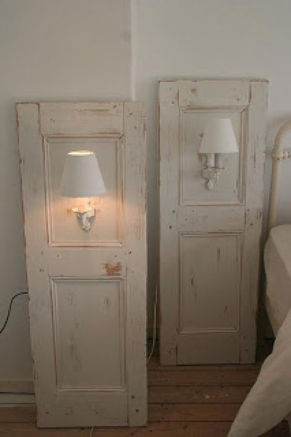 Love the idea of using old cabinet doors for lamp pictures and shabby chic bedroom decor