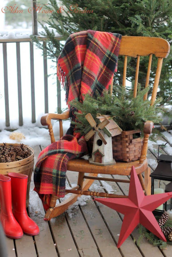 Decorate a vintage rocking chair for Christmas front porch decor