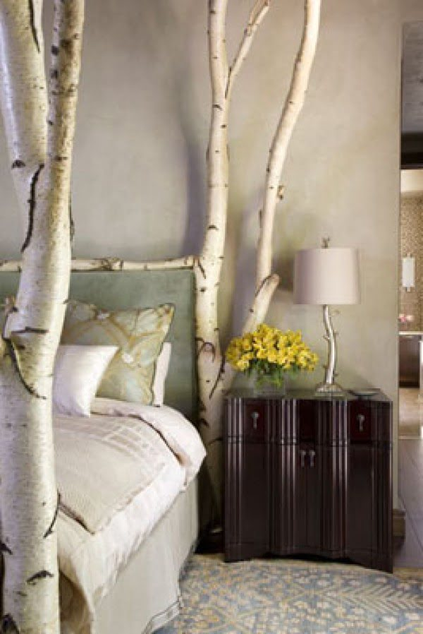Love the bed design made of real birch tree branches