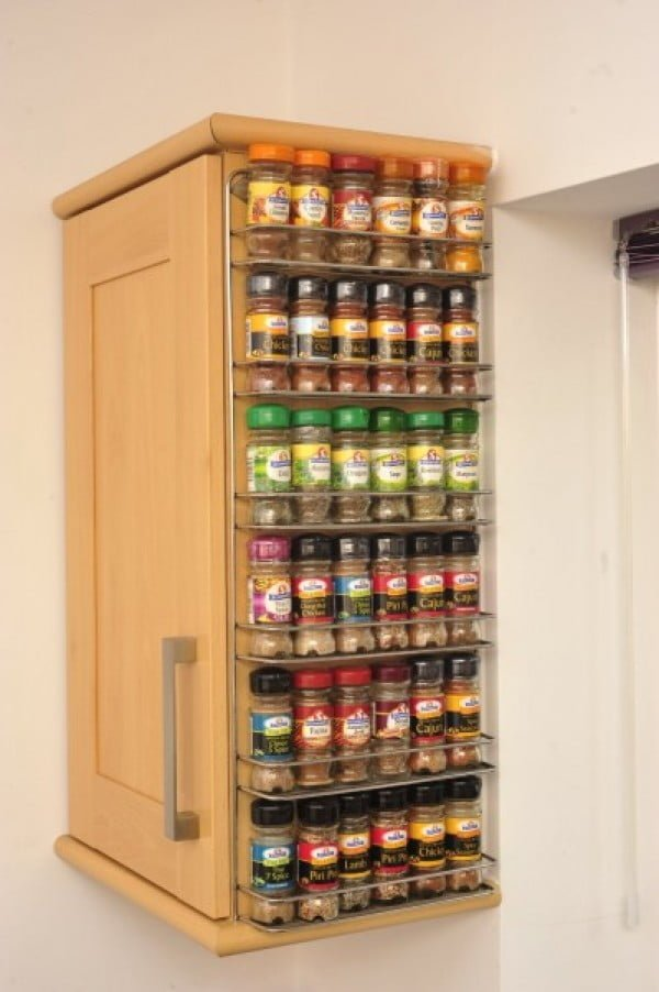 Love the idea for a spice rack using the free space on the side of a cabinet