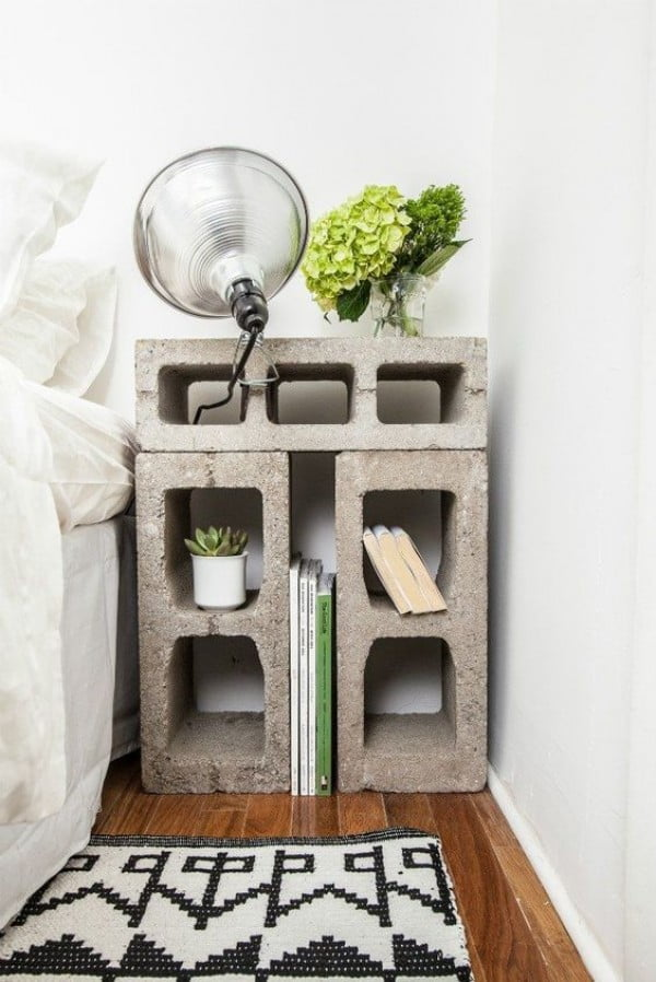 Brilliant nightstand made of cinder blocks for industrial style bedroom decor