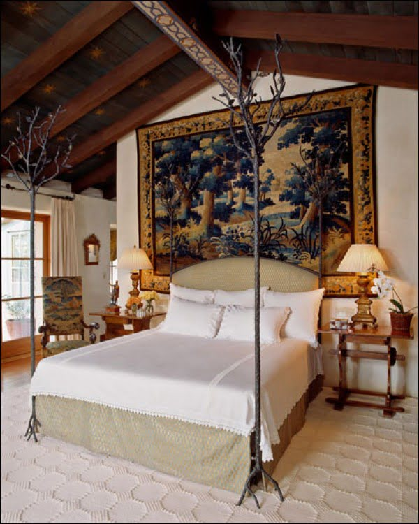 Love the elegance of these decorative tree bed posts and bedroom decor