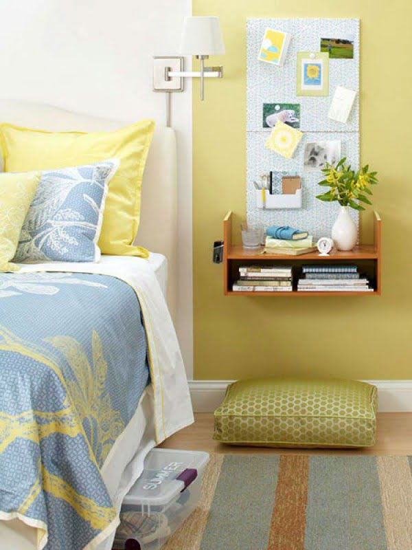 Brilliant small bedroom solution with a floating nightstand leaving plenty if floor space