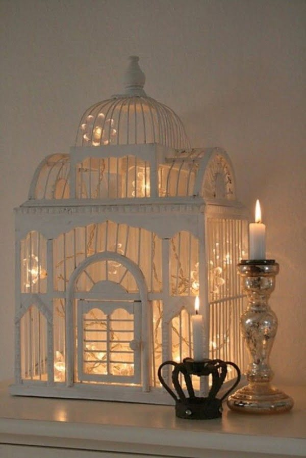 Lovely fairy light bird cage decoration for shabby chic bedroom decor