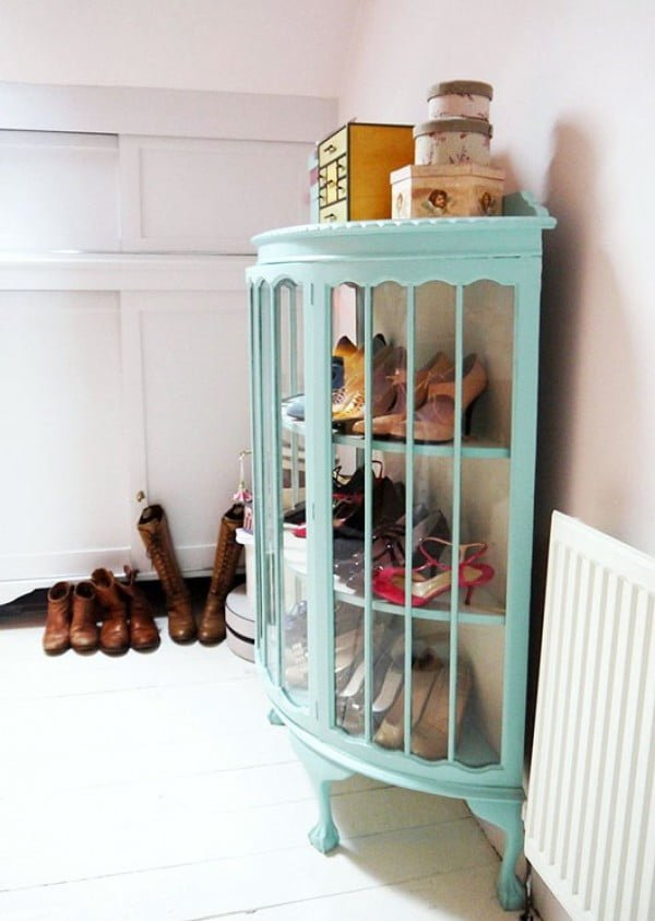 60+ Easy DIY Shoe Rack Ideas You Can Build on a Budget - Nice idea to put shoes on display in cabinets with glass doors