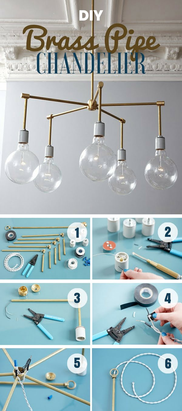 Check out how to make this easy DIY brass pipe chandelier
