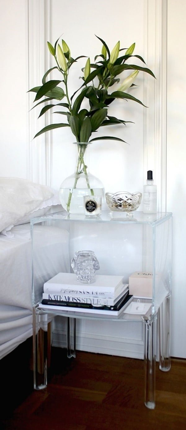 Brilliant translucent acrylic nightstand for a small bedroom