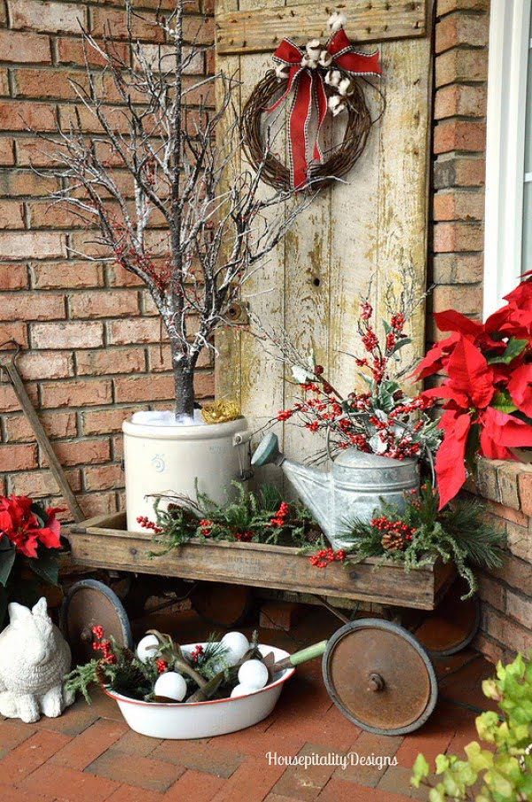Rustic Christmas front porch decor