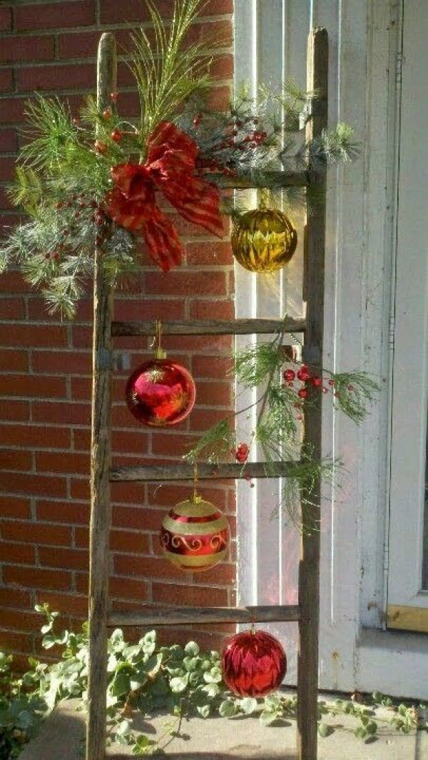 Lovely rustic Christmas front porch decor ladder
