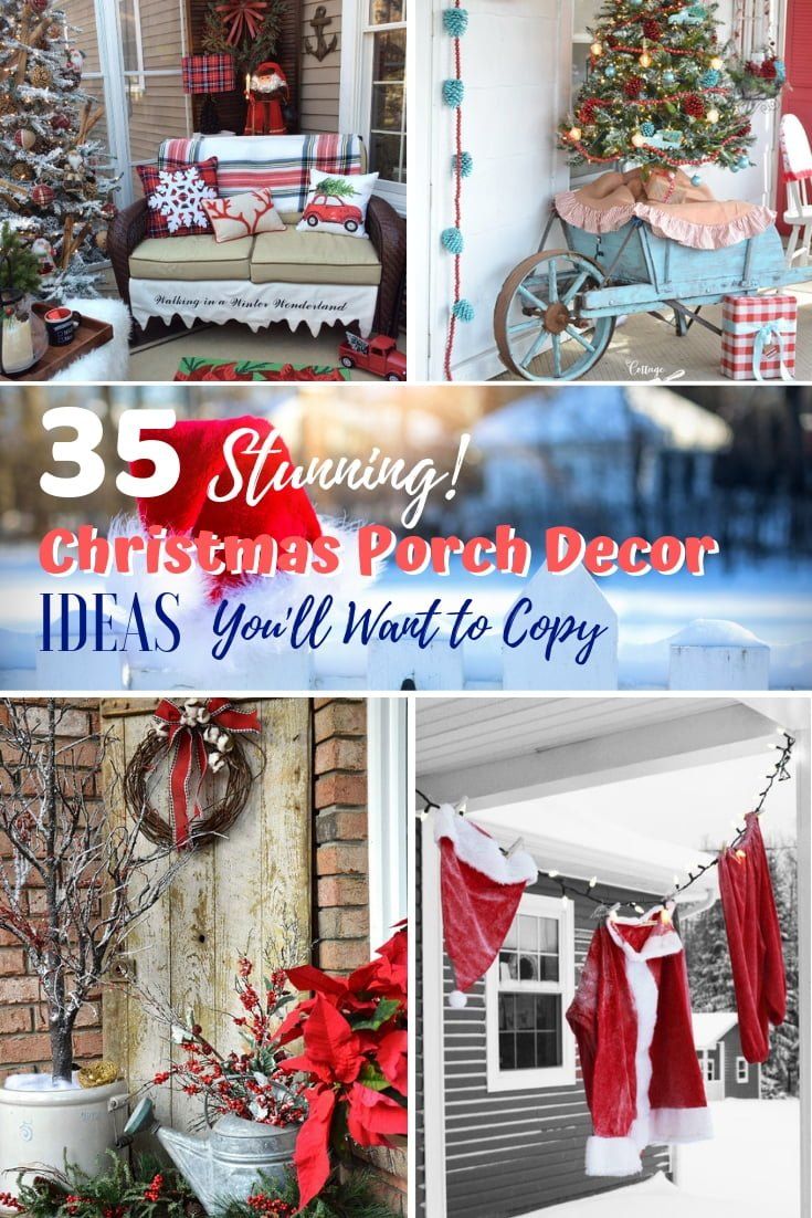 Your home porch is a big part of Christmas decor as you welcome the Holiday spirit. Here are 35 Christmas porch decor ideas that you'll want to copy. Make sure you save this! #homedecor