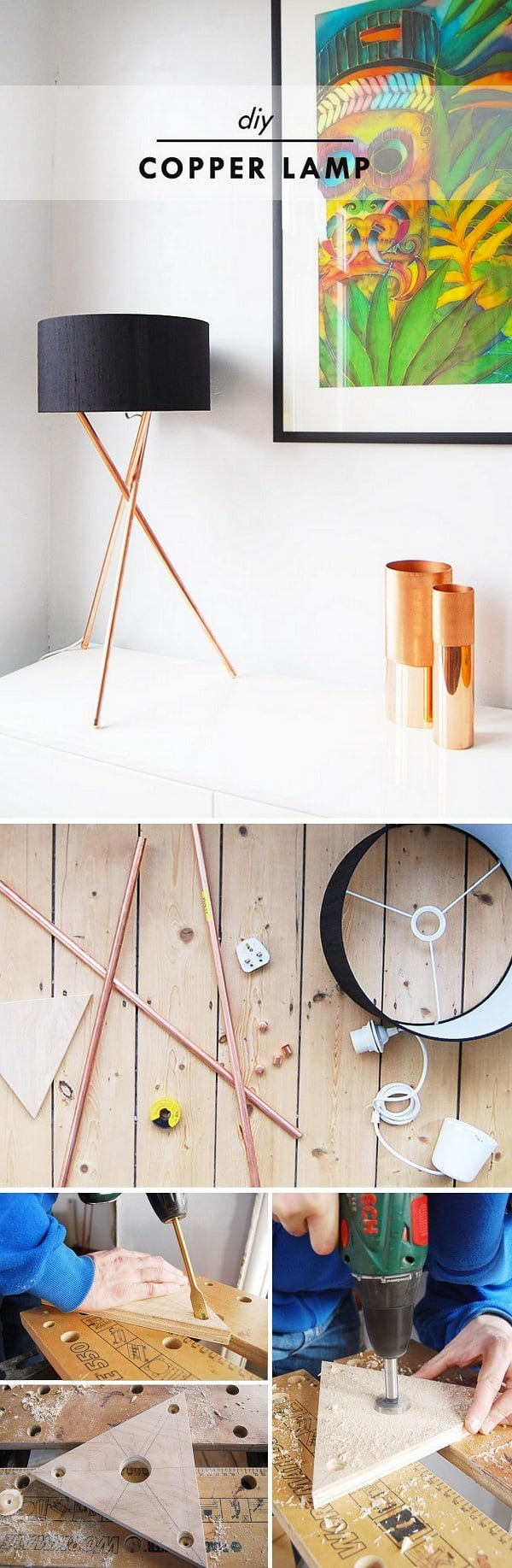 16 Trendy DIY Ideas to Decorate with Copper - Check out the tutorial for an easy to make #DIY #copper lamp #homedecor