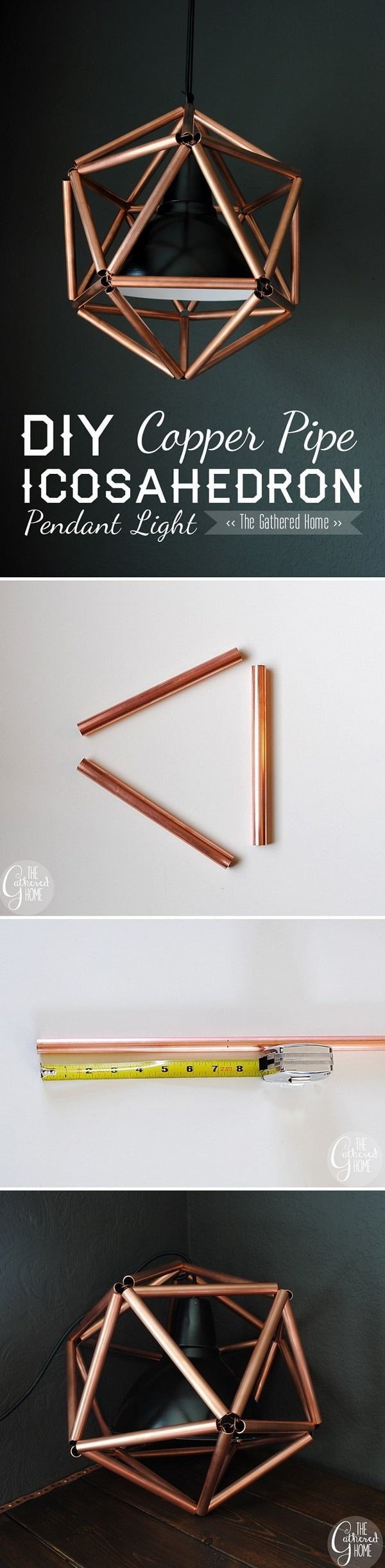 16 Trendy DIY Ideas to Decorate with Copper - Check out the tutorial on how to make this modern design #DIY #copper pendant light #homedecor