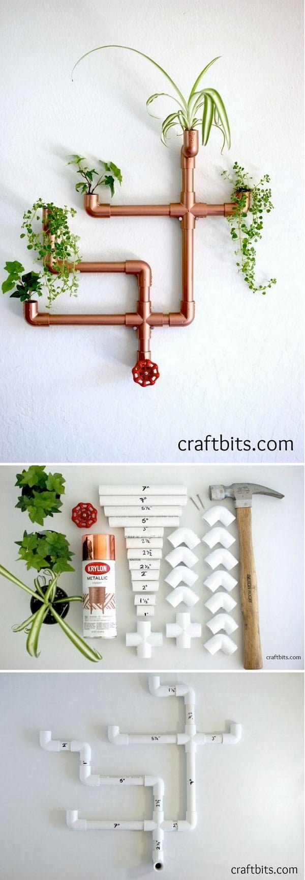 16 Trendy DIY Ideas to Decorate with Copper - Check out how to make this cute #DIY #copper pipe wall planter #homedecor
