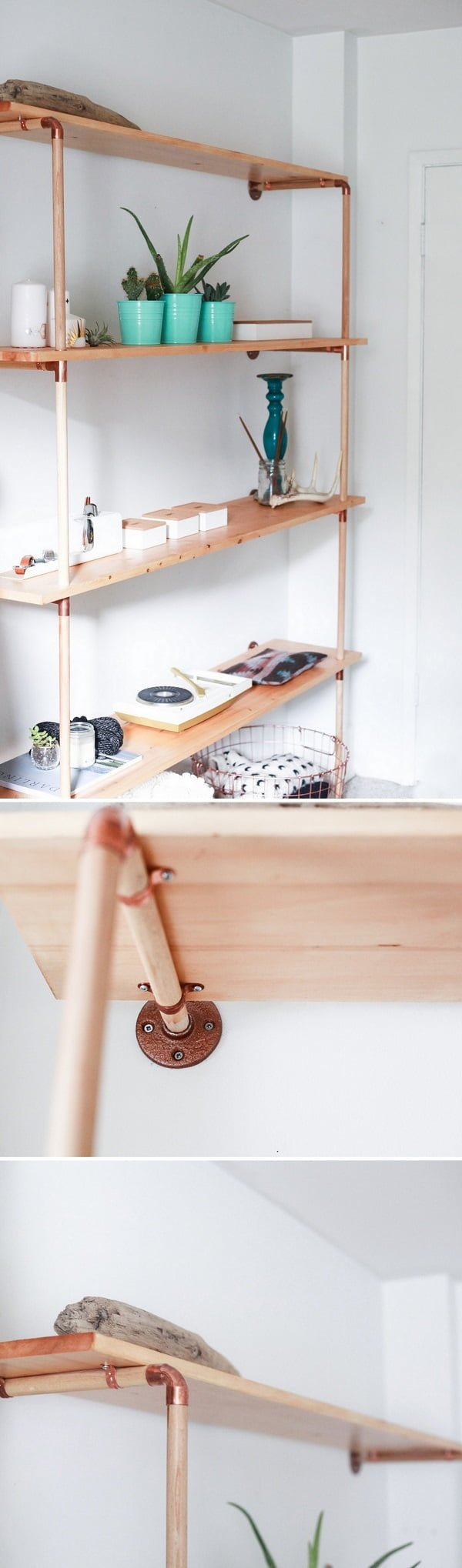 16 Trendy DIY Ideas to Decorate with Copper - Love the idea for   copper and wood shelves