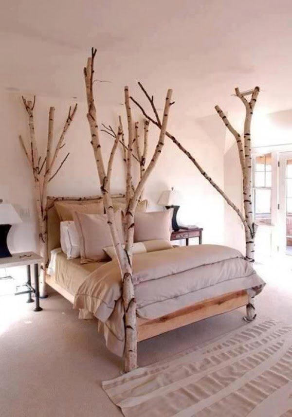 Love the idea for birch tree bed posts