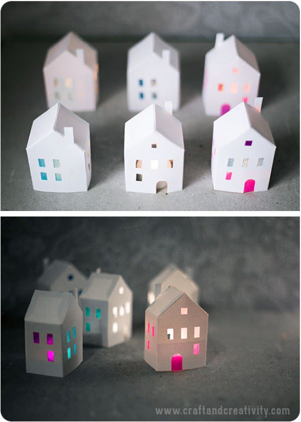 Make these easy DIY tea light paper houses for Christmas decoration
