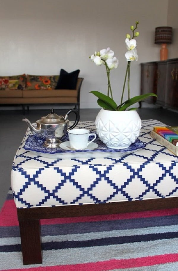 #DIY Boxed Ottoman, and easy home project and it looks so good! #homedecorideas