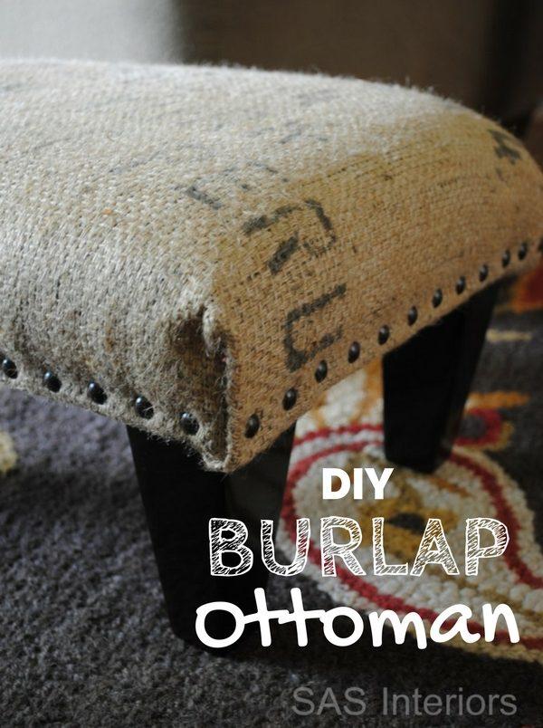 ottoman using burlap coffee sack