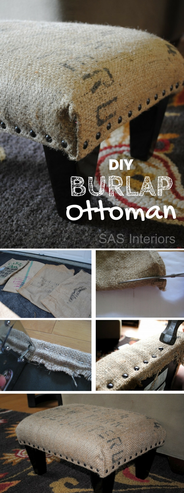 Make an easy DIY ottoman using burlap coffee sack