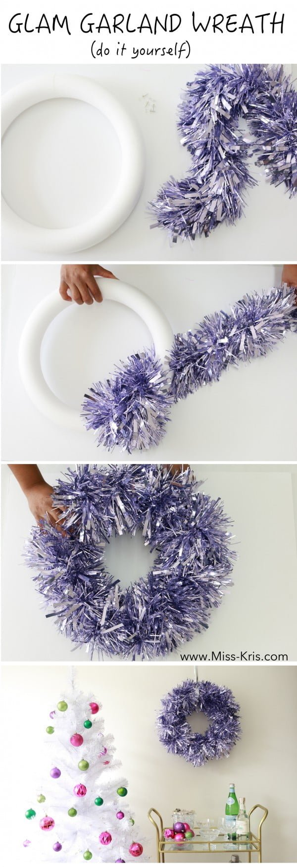 Easy to make and very glamorous DIY Christmas garland wreath